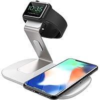 Seneo 2 in 1 Wireless Charger,Drahtloses Qi Ladegerät iWatch Ladestation (ohne iWatch Adapter) für Apple Watch,7,5W Wireless Charger für iPhone,10W Fast Wireless Charger für Galaxy,5W für Qi Handys