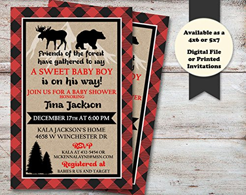 Amazon Com Lumberjack Baby Shower Invitation Buffalo Plaid Shower