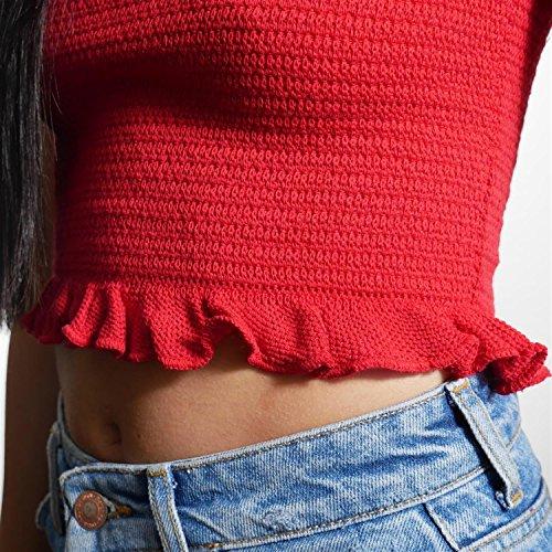 JUANA LA LOCA AND THE VICTORIANS - Mujer top Strapless crop moda Bralette sin mangas palabra de honor punto largo Rojo