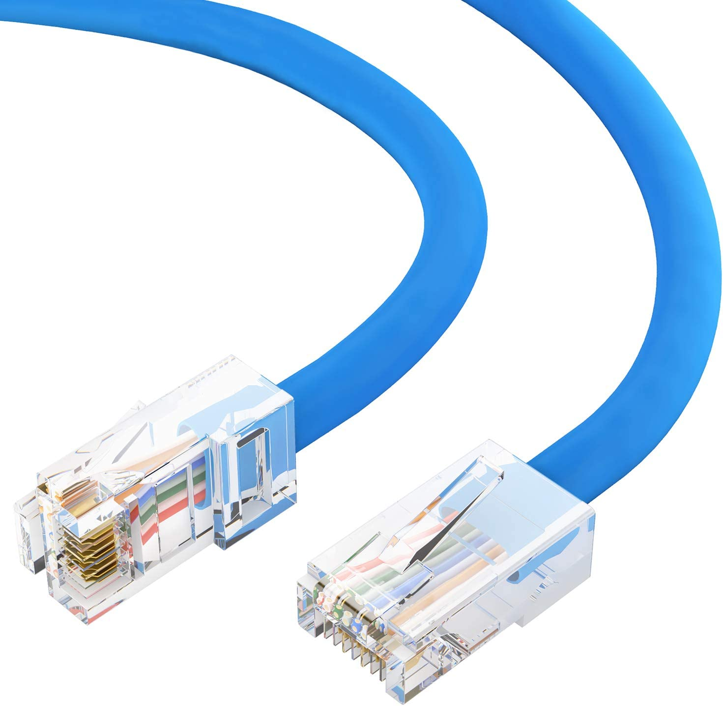 10 Gigabit//Sec High Speed LAN Internet//Patch Cable GOWOS Cat6 Ethernet Cable 50-Pack - 5 FT Black 550MHz 24AWG Network Cable with Gold Plated RJ45 Snagless//Molded//Booted Connector