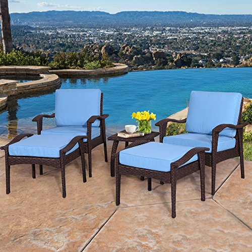 All Weather Ottoman - Diensday Outdoor Furniture | Patio Conversation Sets 5-Piece Lounge Chair & Ottoman set | All Weather Brown Wicker Deep Seating with Blue Waterproof Olefin Cushions & Coffee Side Table