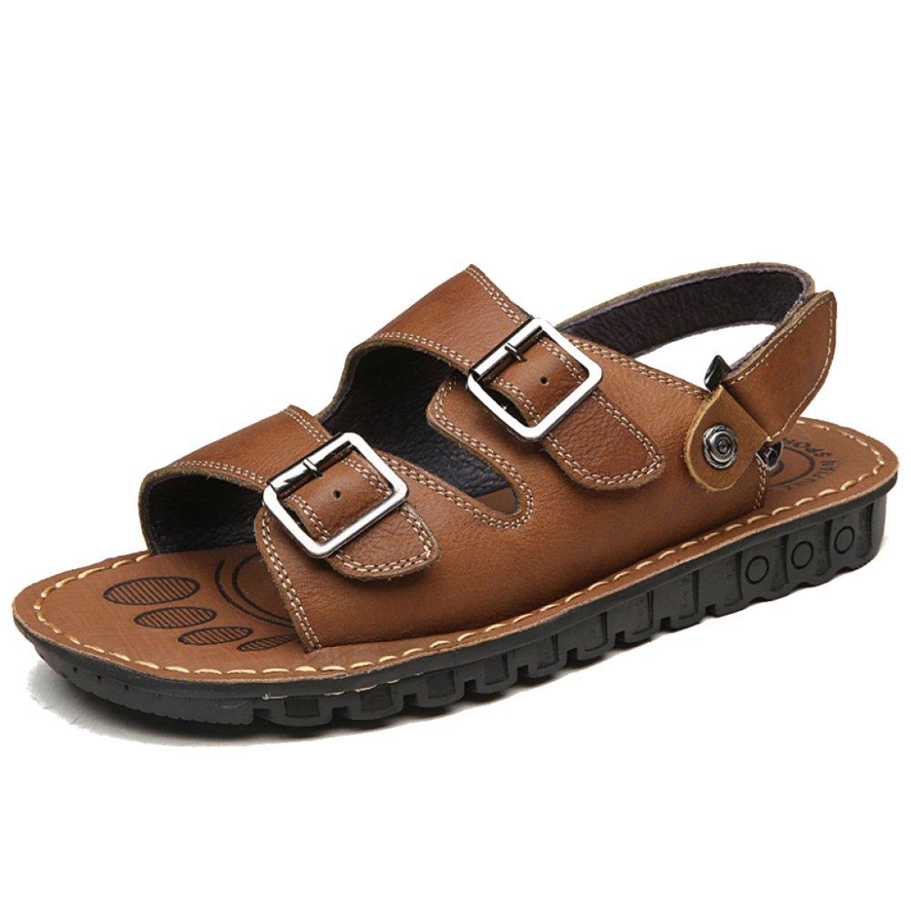 MERRYHE Einstellbare Große Größe Echtes Leder Strand Sandalen Für Männer Wandern Offene Spitze Pool Schuhe Wandern Männer Sportschuhe Braun 3d8884
