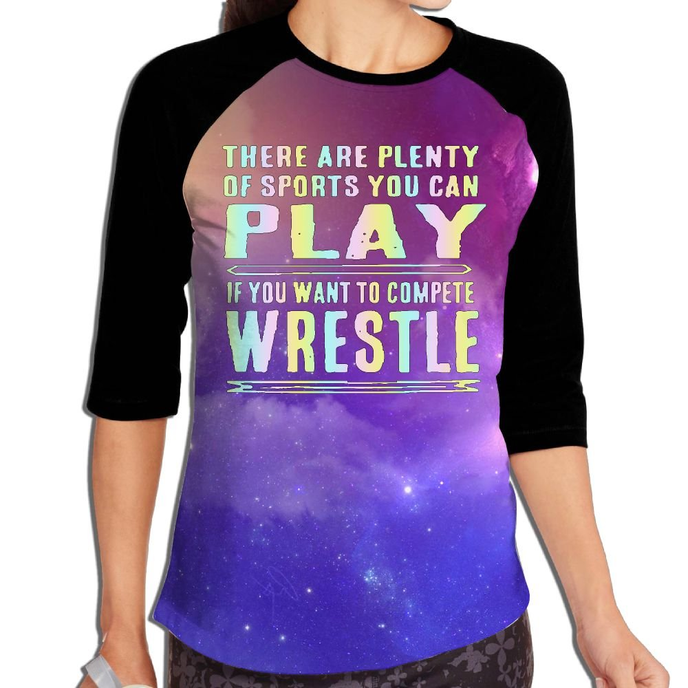 Lwnek Funny Wrestling Womens Or Youth Plain Raglan Shirt 3/4 Sleeve Athletic Baseball L