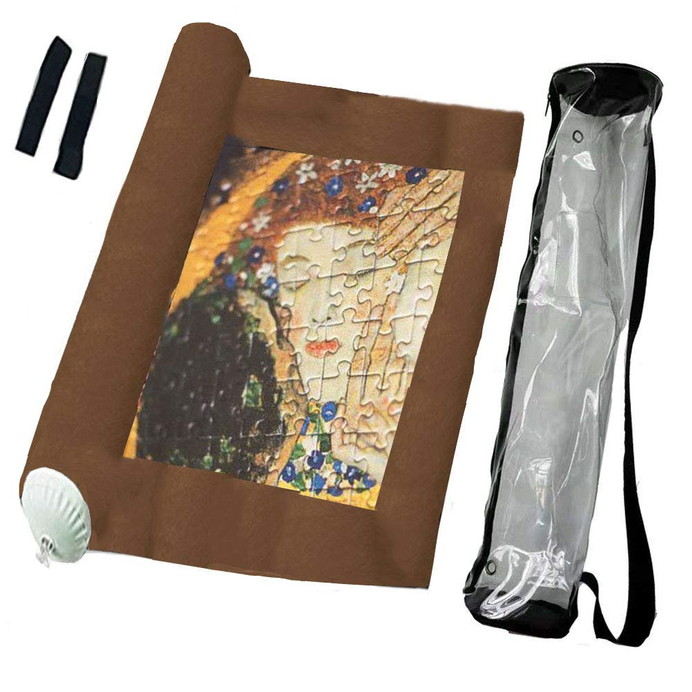 Frealm Felt Puzzle Mat Puzzles Storage Saver Jigsaw Puzzle Playmat with Stringdraw Large Storage Bag and Poster Tube Brown Up to 1500psc