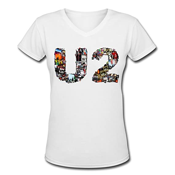 U2 Volcano Tour 2016 V Neck T Shirt for Women White Large: Amazon.es: Ropa y accesorios