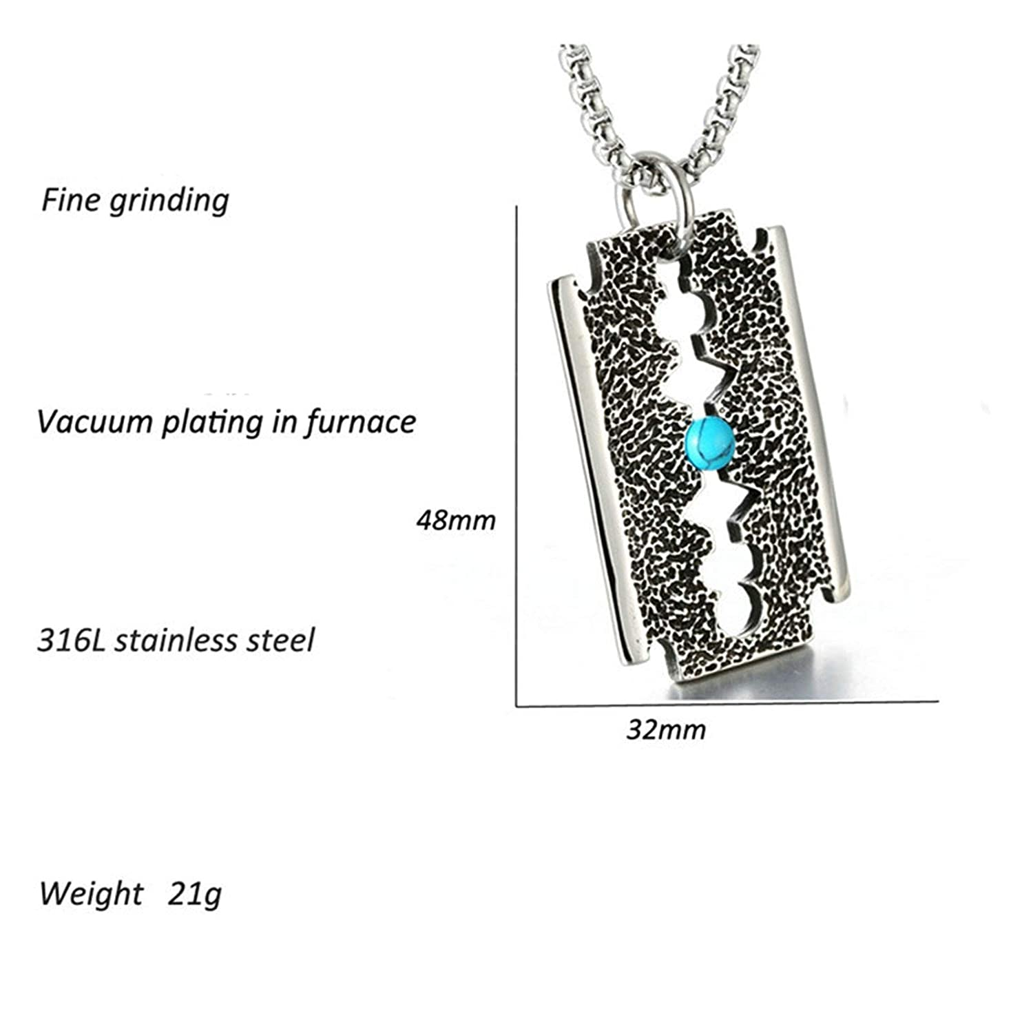 Epinki Stainless Steel Women and Men Necklace Turquoise Razor Shape Stainless Steel Necklace Pendant Silver with Cubic Zirconia