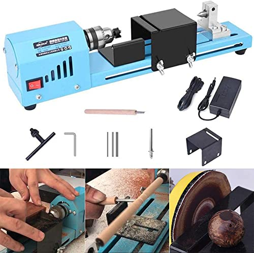 lesgos Mini Motorized Lathe Machine, 12-24V DC 150W Lathe Beads Polisher Machine CNC Machining for Table Woodworking Wood DIY Tool Lathe Standard Set, Speed 4000-7000RPM