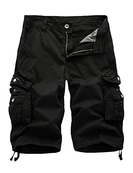 12b0a10d28 Women's Cotton Loose Zipper Front Multi-Pocket Bermuda Drawstring Women  Cargo Shorts Black ...