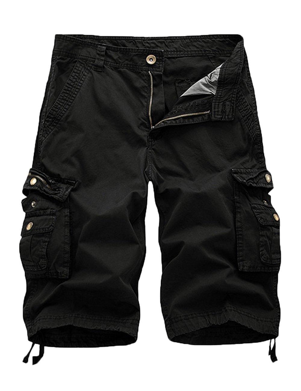 FOURSTEEDS Women's Cotton Butt Lift Zipper Multi-Pockets Twill Bermuda Drawstring Women Cargo Shorts Black US 10