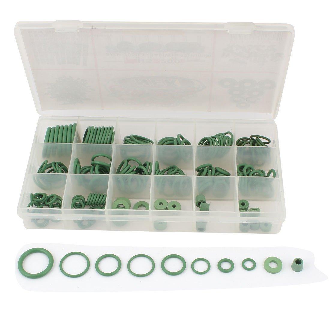 203Pcs 18 Green Value Flexible Kit d/étanch/éit/é en caoutchouc joints toriques Spacer w Holder