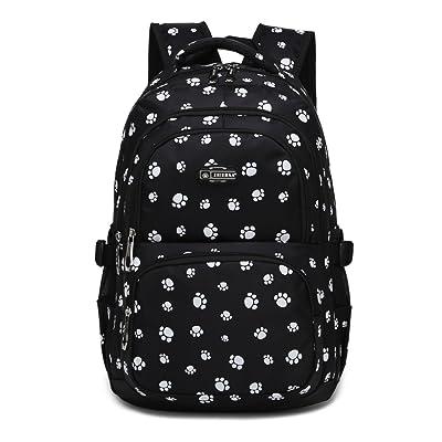Dog Pawprint Cat Fingerprint Backpack for Elementary or Middle School Girls (Black) | Kids' Backpacks
