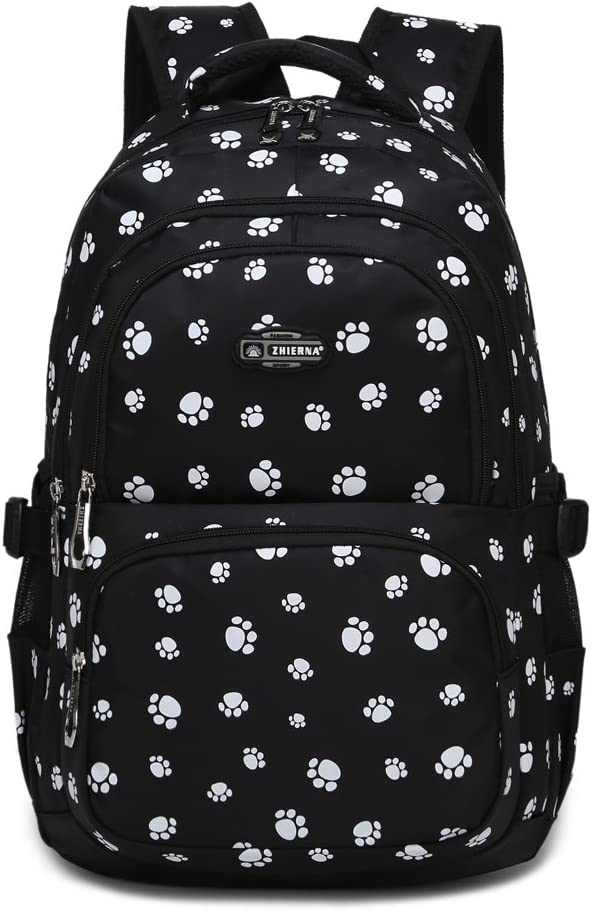 Dog Pawprint Cat Fingerprint Backpack for Elementary or Middle School Girls (Black)