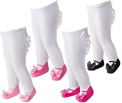 21afc75b9149 Amazon.com  Infant Baby Girls Ruffle Tights Mary Jane Bow 4-pack ...