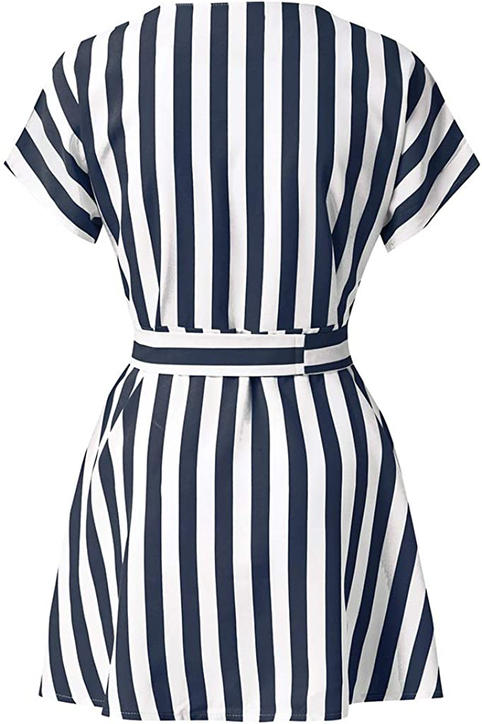 Ulrico1 Women Striped Wrap V Neck Button Down Short Sleeve Mini Shirt Dress Tie Belt Summer Dress with Pockets
