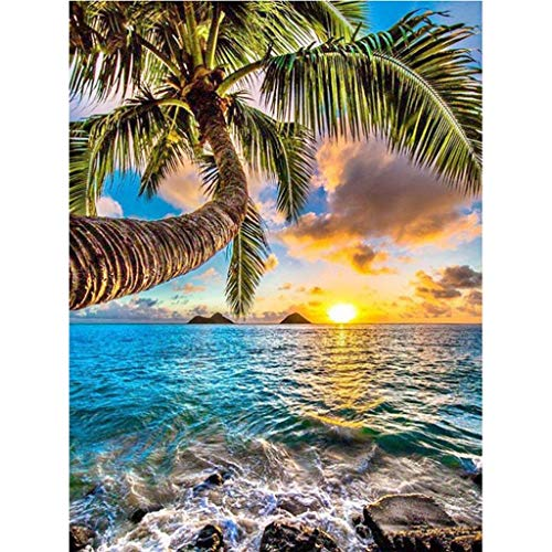 Mikilon 5D DIY Diamond Painting kit Rhinestone Embroidery Cross Stitch Arts for Craft Home Wall Decor Tropical Beach Palm Tree (Palmtree, 12x16 - Palm Tree Tropical Diamond