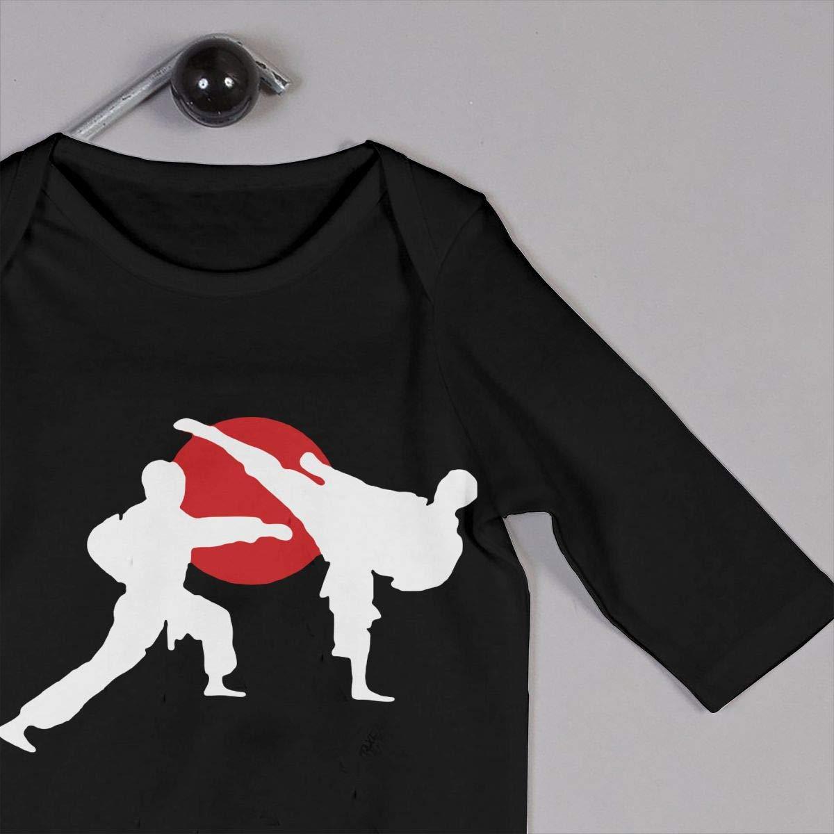 U99oi-9 Long Sleeve Cotton Bodysuit for Baby Girls Boys Cute Two Karate Fighter Sleepwear