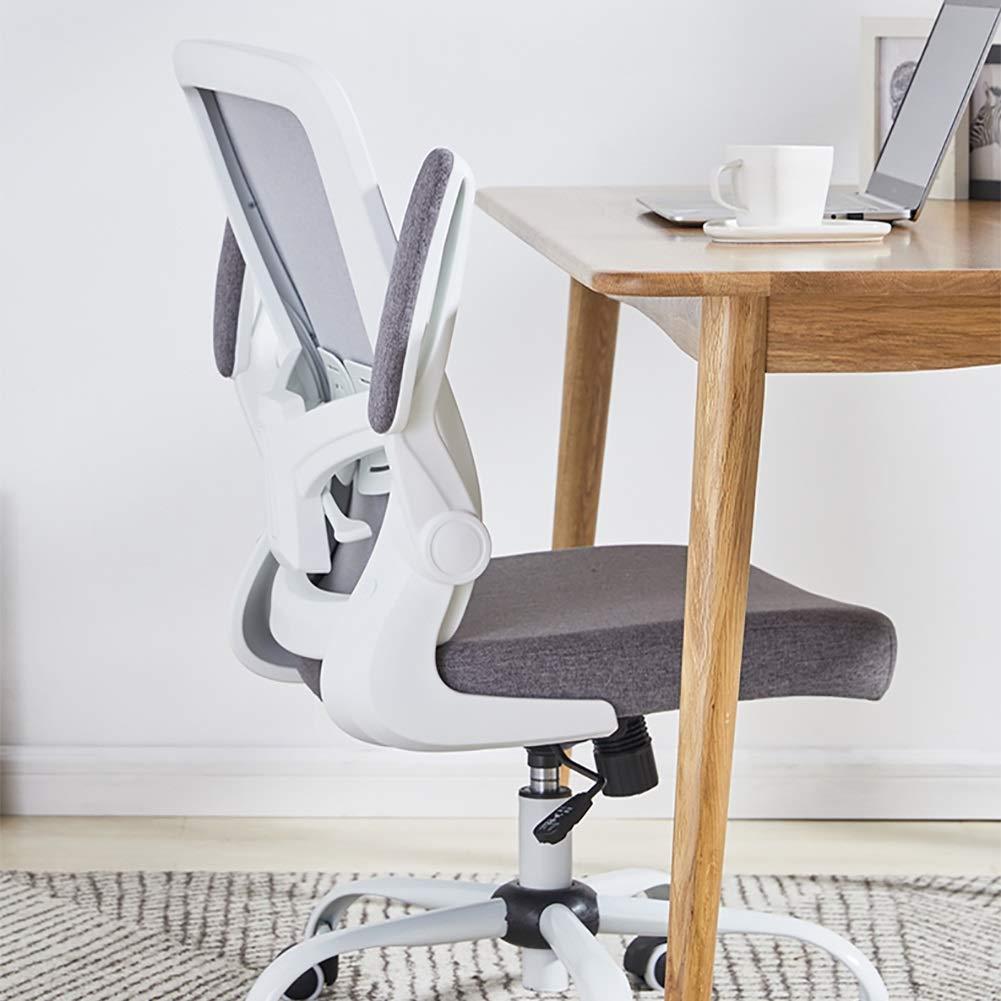 HLR kontorsstol skrivbordsstol skrivbordsstol, med armstöd datorstolar, ergonomisk konferens verkställande arbetsstol justerbar korsryggskudde (färg: Rosa) Grått