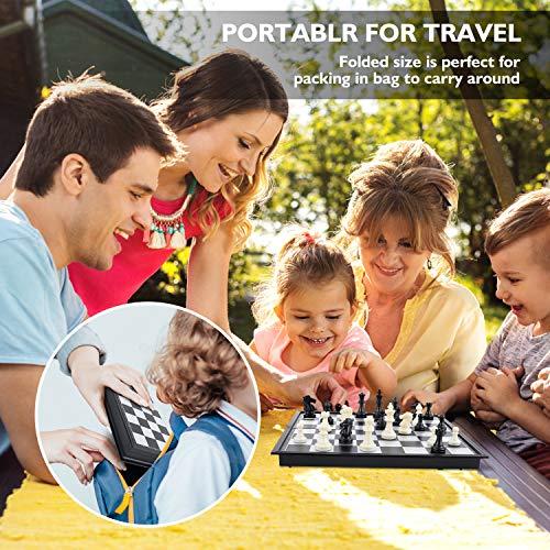 Peradix 3-in-1 Scacchiera,Scacchiera Magnetica 25x12.5 CM Viaggiare Scacchi,Dama,Backgammon,Regalo per Adulti e Bambini Scheda di Gioco Pieghevole e Portatile per Viaggi