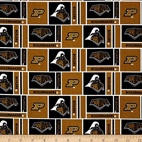Collegiate Cotton Broadcloth Purdue University Gold Fabric By The -