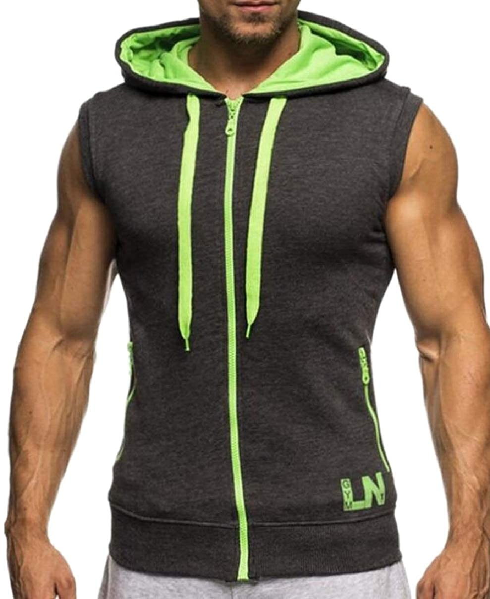 YIhujiuben Mens Lightweight Hood Casual Zip Up Vest Sleeveless Tank Tops Tank Tops