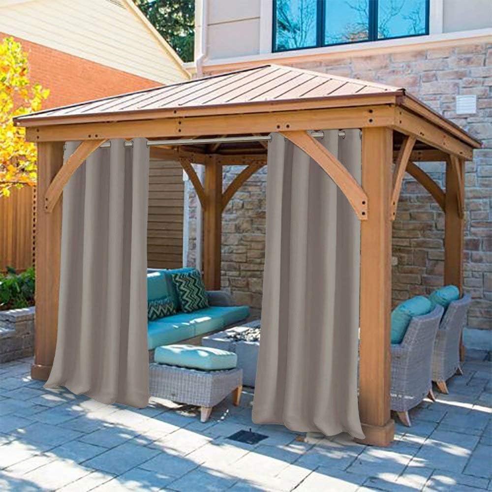 UniEco - Cortinas de exterior para balcones o terrazas, cortinas opacas, cortinas impermeables y antimoho para cenadores, casa de playa, 132 x 245 cm, gris topo, 1 unidad: Amazon.es: Jardín