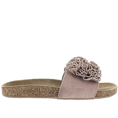 Musse   Cloud Sisley - Sand Suede Ruffled Flower Footbed Slide Sandal -  Size  36 97fa2b99c