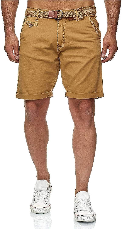 vestibilit/à normale 100/% cotone Bermuda da uomo Chino Indicode Conor con cintura