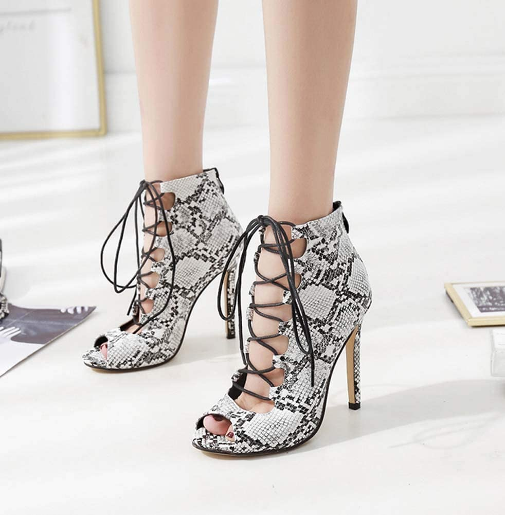GHFJDO Women Ankle Strappy Roman Sandals,New peep Toe Shoes,Lace Up Casual Shoes Stiletto Heels Large Size