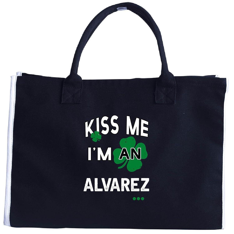 Funny St Patricks Day Irish Kiss Me Im An Alvarez - Tote Bag