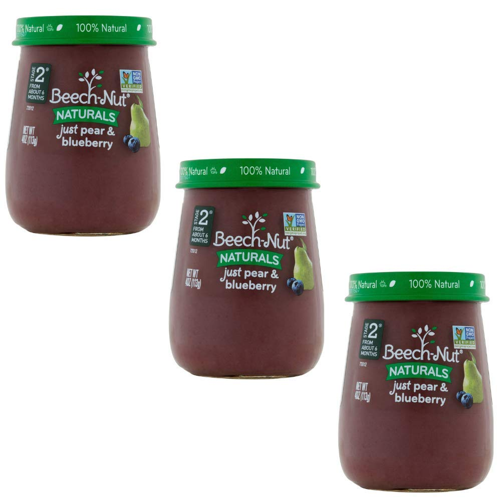 Beech-Nut Stage 2 Baby Food, Just Pear/Blueberry, 4.0 Ounce, 10 count - 3 pack
