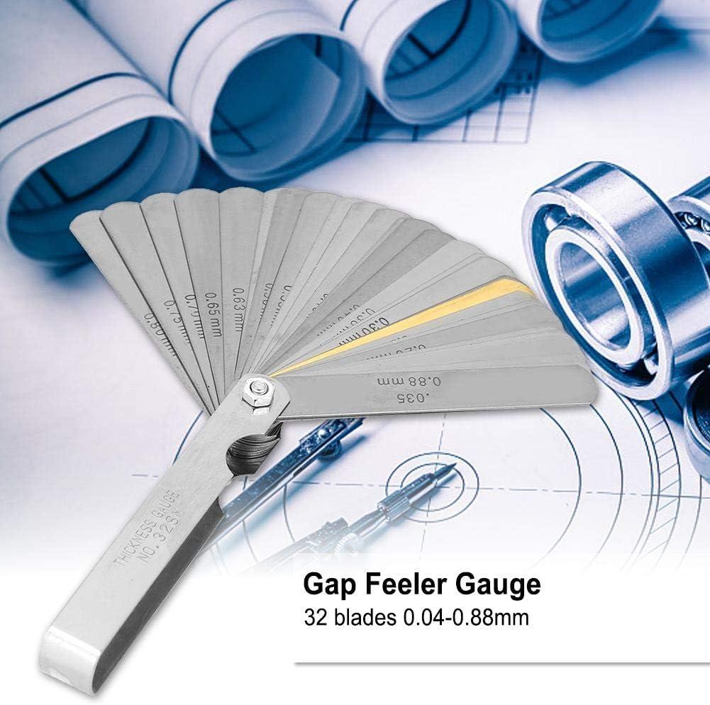 Feeler Gauge 32 Blades Feeler Gauge Metric 0.04-0.88mm Thickness Stainless Steel Gap Measurement Tool Measuring Ruler Tool Feeler