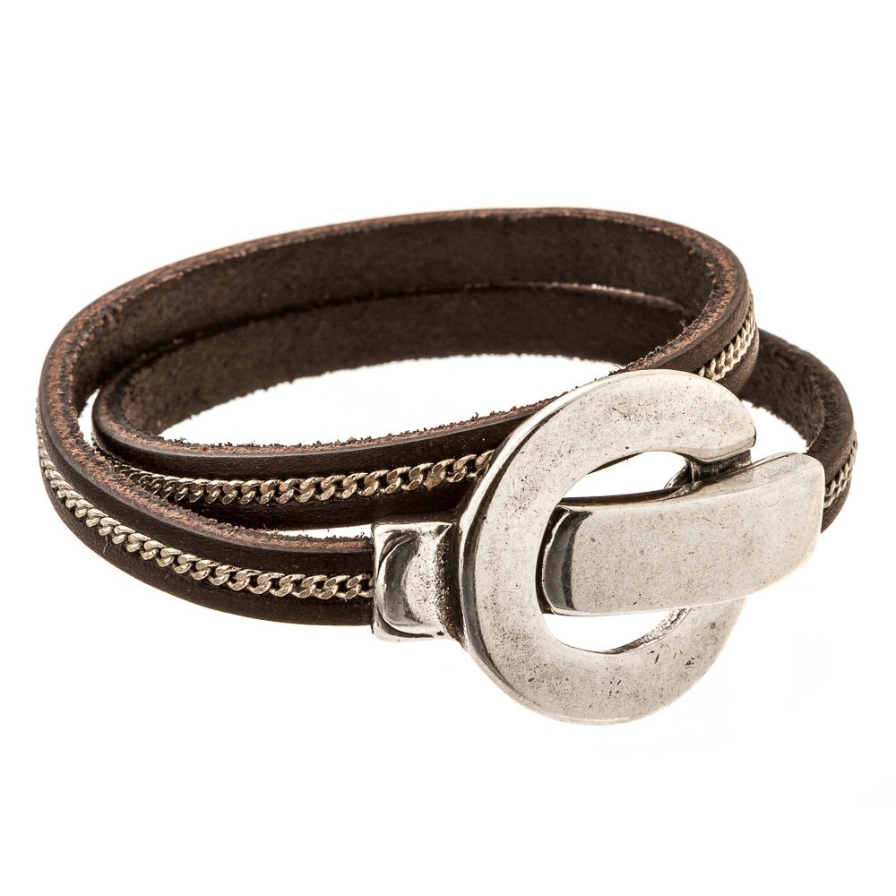 Trades by Haim Shahar Lyn Leather wrap Bracelet with magnetic clasp handmade in Spain zipper detail