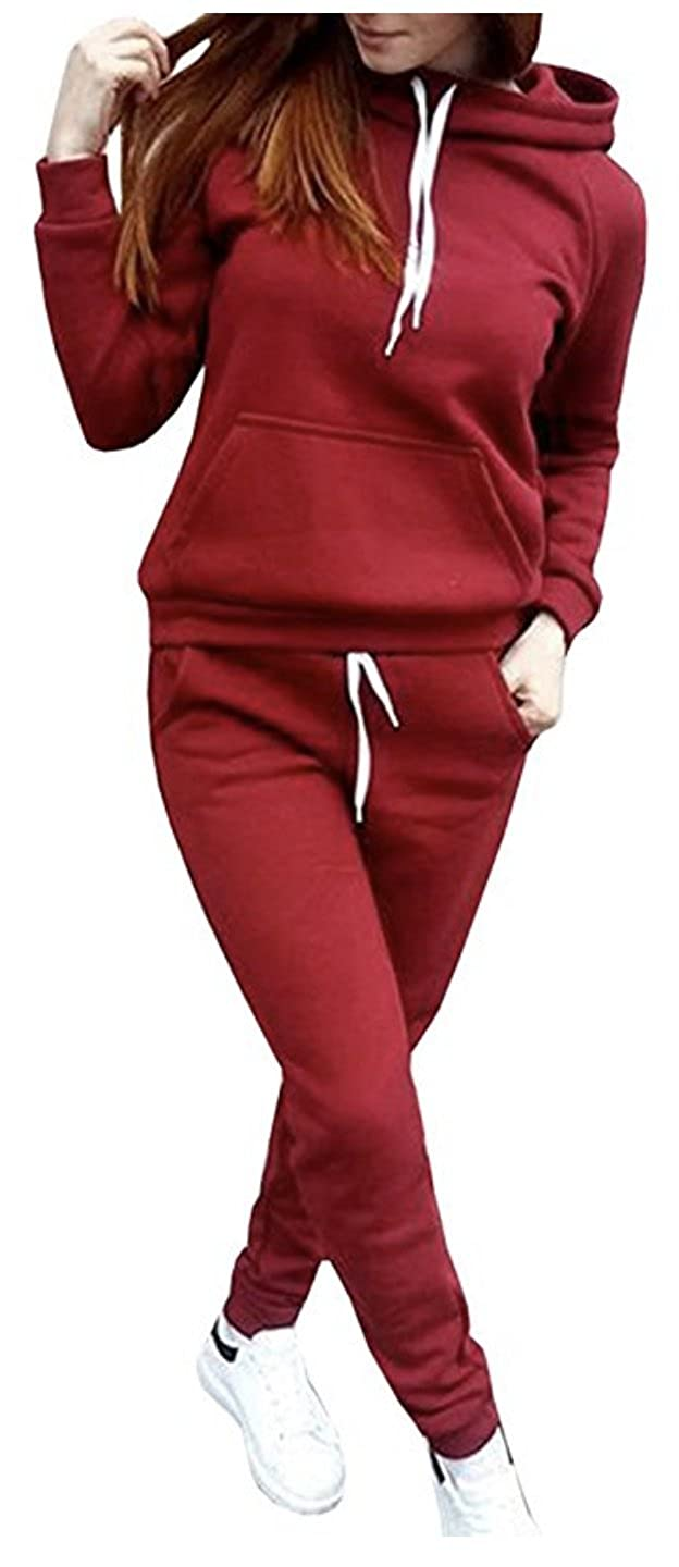 SUKIYAKI Women Jogger Outfit Matching Sweat Suits Long Sleeve Hooded Sweatshirt and Sweatpants 2 Piece Sports Sets
