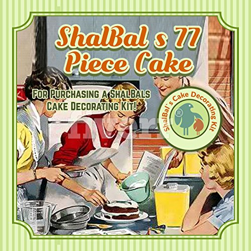 ShalBal`s 77pc Cake Decorating Kit Complete Set of Baking Supplies Baking Kit for Beginners Rotating Cake Turntable Stand Ultimate Cake and Baking Kit Cake Decorating Supplies Baking Tools+Piping Tips by ShalBal`s Cake Decorating Kit
