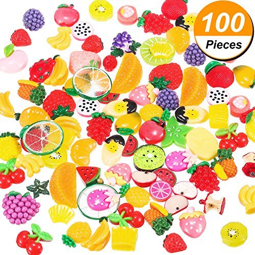 Frienda 100 Pieces Slime Charms Slime Beads Mixed Fruit Beads for DIY Crafts Scrapbooking, Assorted Colors and Shapes