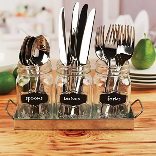 Circleware 69072 Yorkshire Chalkboard Mason Jar Glasses with Metal Holder Stand Set of 4, Home & Kitchen Farmhouse Décor Drink Tumblers for Water, Beer and Beverages, 17 oz, Galvanized by Circleware (Image #2)