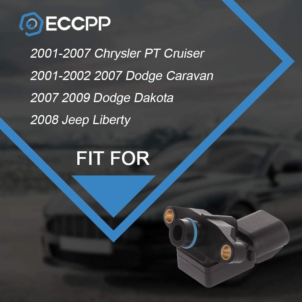 2001-2002 2007 Dodge Caravan ECCPP Manifold Absolute Pressure Sensor MAP Sensor Fit for 2001-2007 Chrysler PT Cruiser 2007 2009 Dodge Dakota 2013 Jeep Patriot 2008 Jeep Liberty 2001 Plymouth Neon