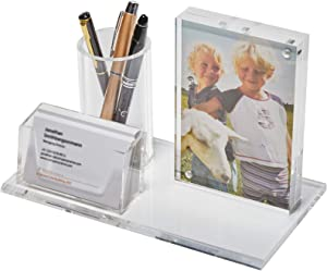 Hyalife Acrylic Desk Organizer-Pencil Holder&Card Display&Frame Desk All In One for Desk Accessories Organizer-Aesthetic Desk Decor