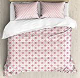 Fleur De Lis Duvet Cover Set Queen Size by Ambesonne, Pink Colored Ancient Lily Flower Motifs with Checkered Pattern French Heraldry, Decorative 3 Piece Bedding Set with 2 Pillow Shams, Pink Cream