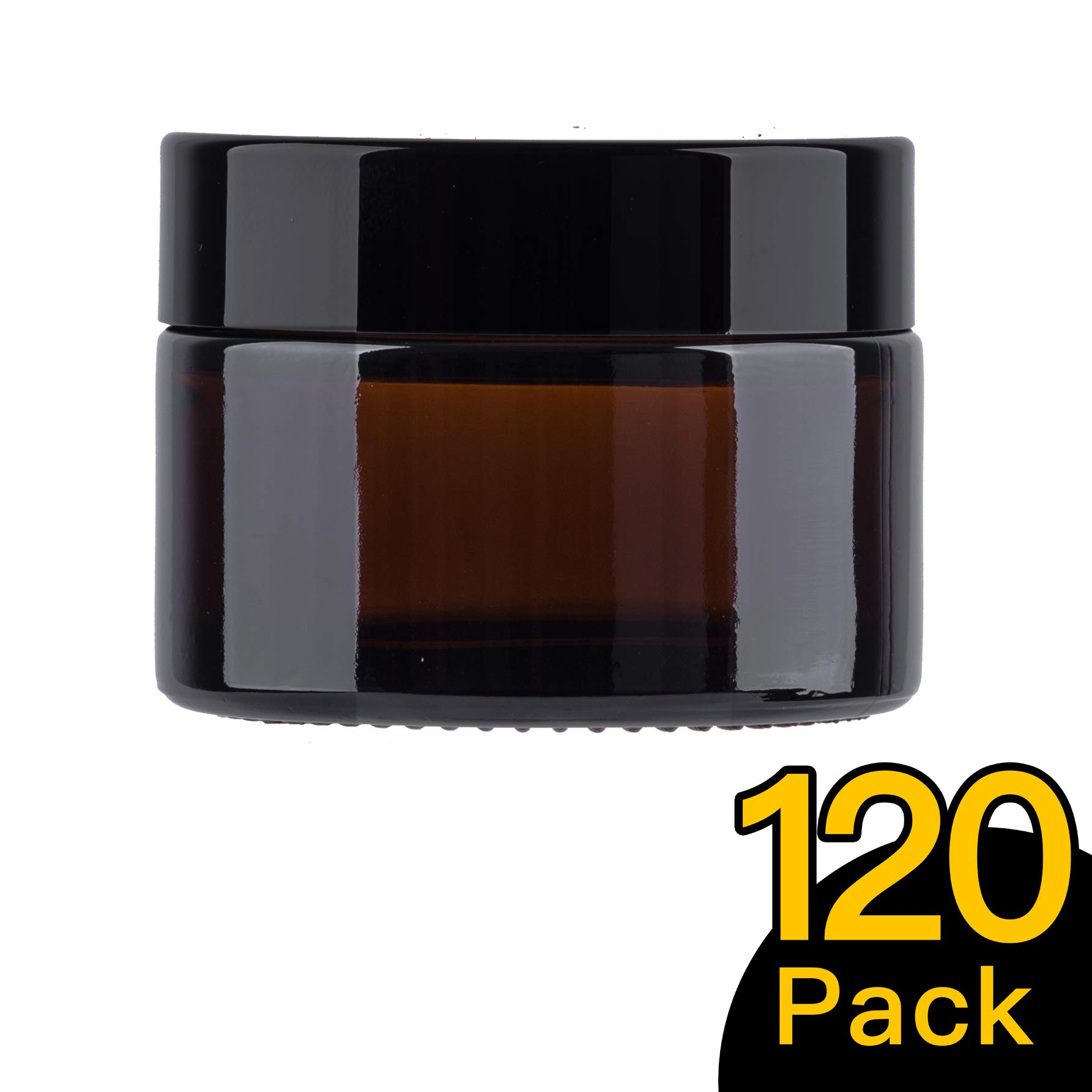 30ml 1 oz 120 Pack Snow Diamond Empty Amber Round Glass Jars, with White Inner Liners and black Lids, High End Glass Containers for Salve Cream, Premium Vials (30ml/1 oz, 120 Pack)