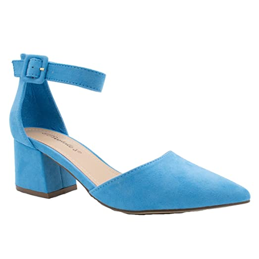 Amazon.com | Breckelle's Women's Pointed Toe Ankle Strap Block ...