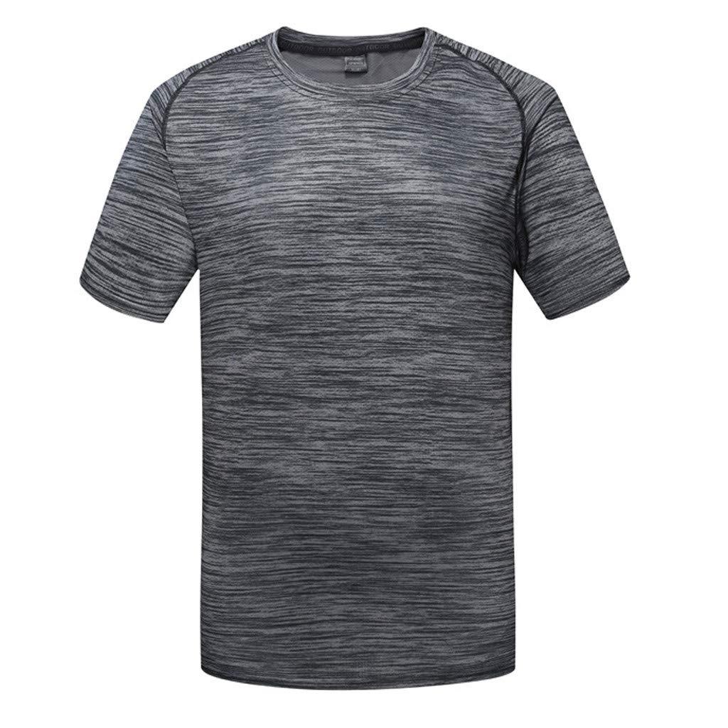 Celucke Laufshirts Herren, Sport Funktionsshirt Kompression Kurzarm Rundhals Fitness T-Shirt Performance Kompressionsshirt Trainingsshirt Sportshirt Muskelshirt