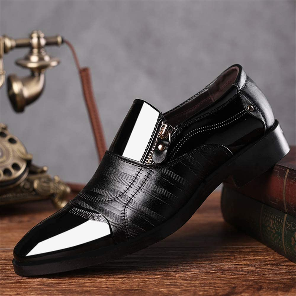 Hilotu Mens Dress Oxford Shoes Color Block Slip on Cap Toe Loafer Casual Comfortable Formal Business Oxford
