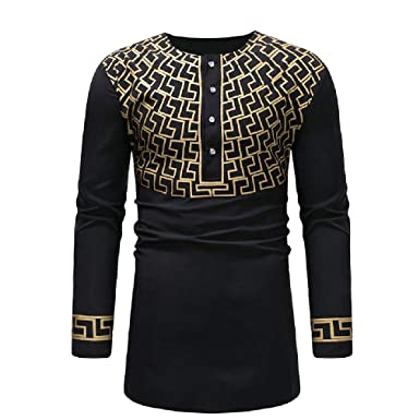 Abetteric Mens African Floral Printed Long Sleeve Dashiki Buttoned Shirts