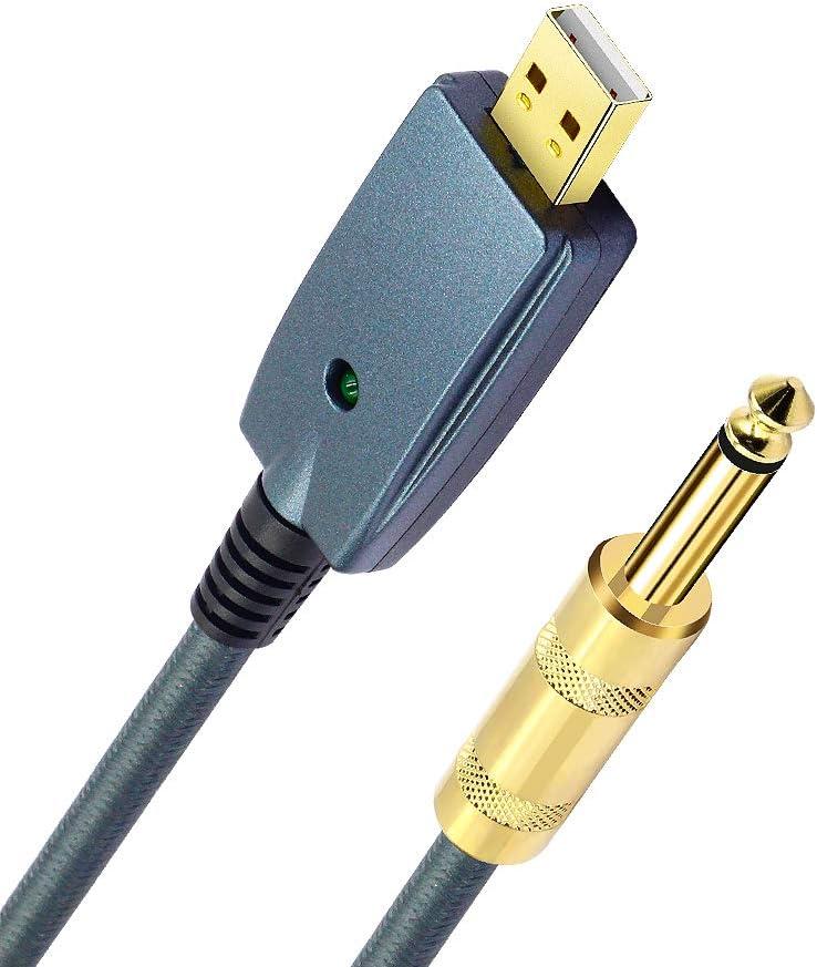 cavo adattatore per strumenti Interfaccia USB maschio a 6,35 mm TS mono cavo convertitore per chitarra elettrica e computer blu grigio-3 m registrazione canto ecc. SiYear Cavo USB per chitarra