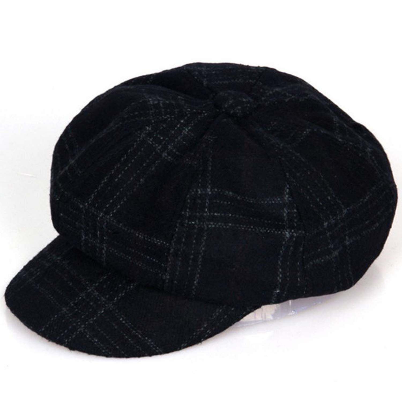 Vintage Style Men Womens Casual wear Plaid Eight Panel Newsboy Cap Driving hat Black Dark Green