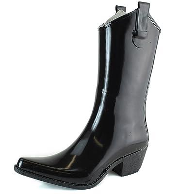 DailyShoes Cowboy Rose Skull Floral Prints High Heel Rain Boots | Rain Footwear