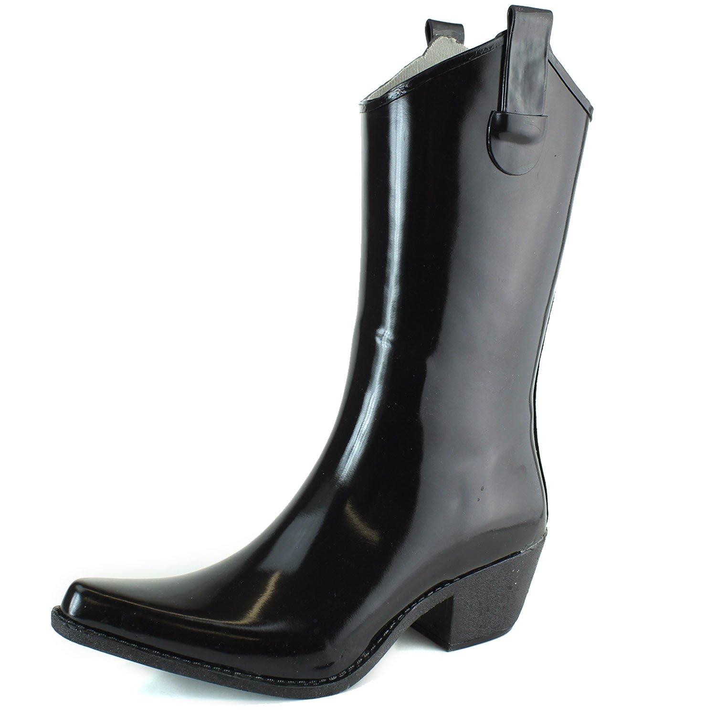 DailyShoes Cowboy Black Solid Prints High Heel Rain Boots,8 B(M) US