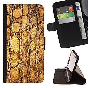 DEVIL CASE - FOR HTC Desire 820 - Gold Pattern Texture Material Rocks Stone - Style PU Leather Case Wallet Flip Stand Flap Closure Cover