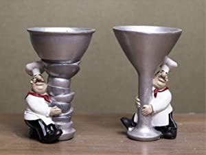 Wine Holder French Chef Waiter Decorative Display Stand Table Centerpiece Figurine for Country Cottage Decor As Collectible Housewarming Gifts (Two Chefs With Candle Holders)